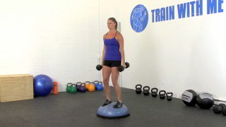 bosu bicep curl press - step 1