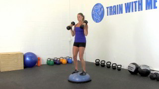 bosu bicep curl press - step 2