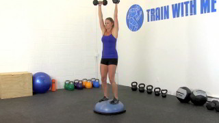 bosu bicep curl press - step 3