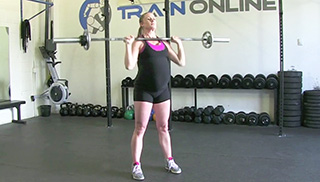 fit mom standing shoulder press - step 1