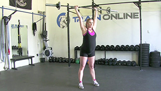 fit mom standing shoulder press - step 2