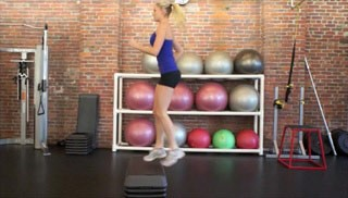 Picture of a female doing Aerobic Step-Ups Exercise