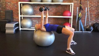alternating stability ball chest press - step 1