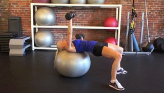 alternating stability ball chest press - step 3