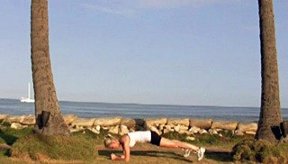Picture of a female doing Beach Double Toe Taps Exercise