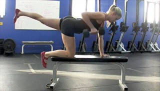 Picture of a female doing Bent Over Row with Leg Raise Exercise