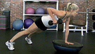 Picture of a female doing Bosu 3 Point DB Row Exercise