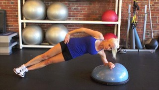 bosu side plank hip raises - step 2