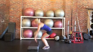 burpee jumps on aerobic steps - step 1