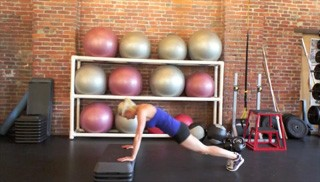 Picture of a female doing Burpee Jumps on Aerobic Steps Exercise