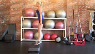 burpee jumps on aerobic steps - step 3