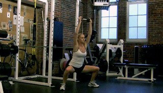 drop squat with dumbbell press - step 2