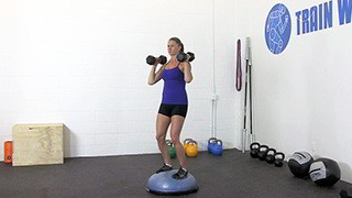 dumbbell bosu shoulder press - step 1