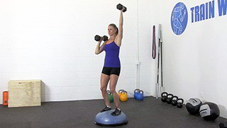 dumbbell bosu shoulder press - step 2