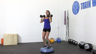 dumbbell bosu shoulder press - step 3
