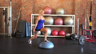 dumbbell bosu step overs - step 1