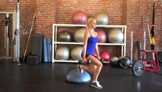 dumbbell bosu step overs - step 2