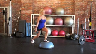 dumbbell bosu step overs - step 3