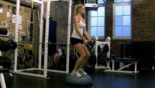 dumbbell raises on bosu - step 1