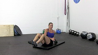 dumbbell seated trunk twist - step 1