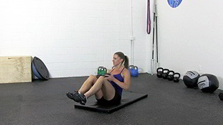 dumbbell seated trunk twist - step 2