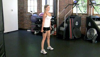 dumbbell squat and curl - step 1