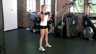 dumbbell squat and curl - step 3