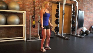 exercise band bicep curls - step 1