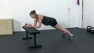 fit mom bench plank-up - step 2