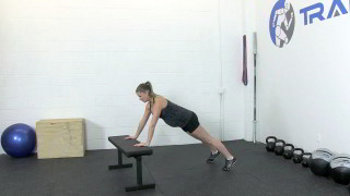 Fit Mom Bench Push Up Exercise