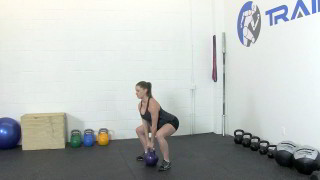 fit mom kettlebell deadlift - step 1