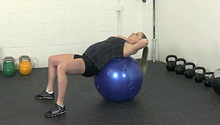 fit mom stability ball crunch - step 1
