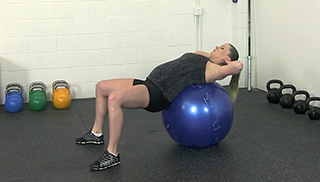 fit mom stability ball crunch - step 3