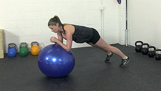 fit mom stability ball plank - step 1