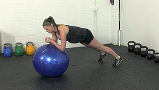 fit mom stability ball plank - step 2
