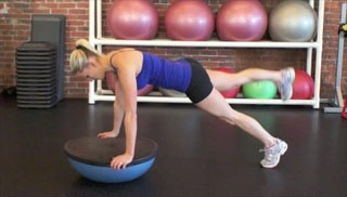 leg raise knee-outs on bosu - step 2