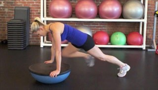 leg raise knee-outs on bosu - step 3