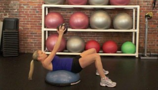 medicine ball crunch on bosu - step 1