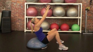 medicine ball crunch on bosu - step 2