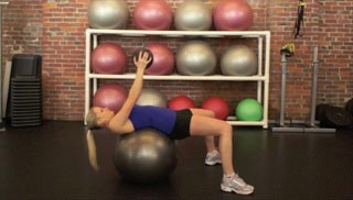 medicine ball crunch on stability ball - step 3