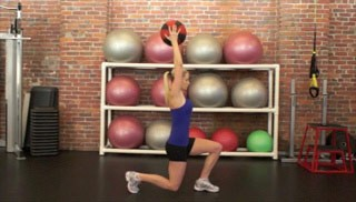 Picture of a female doing Medicine Ball Lunge Exercise