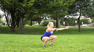 Picture of a female doing Outdoor Air Squats Exercise