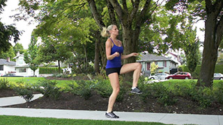 Picture of a female doing Outdoor High Knee Skipping Exercise