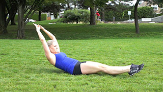 Picture of a female doing Outdoor Hollow Rocks Exercise