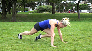 Picture of a female doing Outdoor Mountain Climbers Exercise
