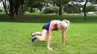 Picture of a female doing Outdoor Plank Knee to Elbow Exercise