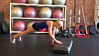 plank ups on the step - step 3