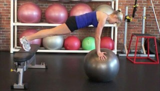 push up plank w/ stability ball - step 1