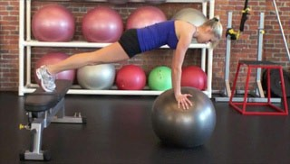 push up plank w/ stability ball - step 3