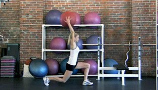 reverse lunge with overhead stretch - step 2